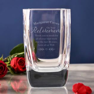 Personalised On Your Retirement Glass Vase Product Image