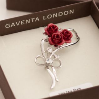 Red Roses and Crystal Brooch in Personalised Gift Box Product Image
