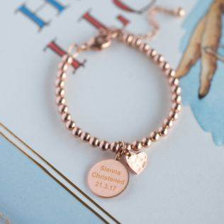 Rose Gold Engraved Christening Bracelet Product Image