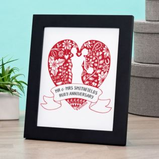 Exclusive Personalised Ruby Anniversary Doodle Heart Print by DoodleDeb Product Image