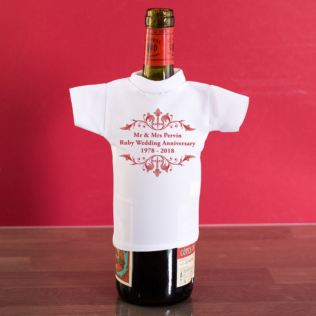 Personalised Ruby Anniversary Wine Bottle T-Shirt Product Image