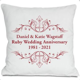 Exclusive Personalised Ruby Anniversary Doodle Heart Cushion by DoodleDeb Product Image