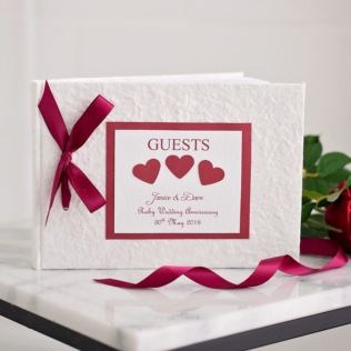 Personalised Ruby Wedding Anniversary Guest Book Product Image