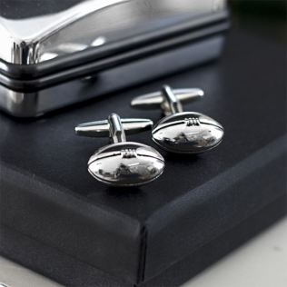 Silver Plated Rugby Balls Sport Cufflinks in Personalised Box Product Image