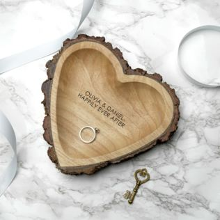 Engraved Couples Names Rustic Carved Wooden Heart Dish Product Image