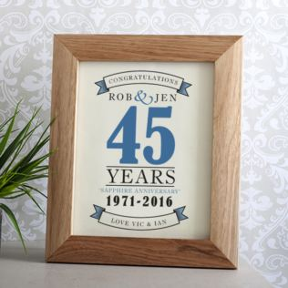 Personalised Sapphire Anniversary Framed Print Product Image