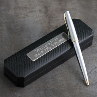 Satin Silver and Gold Finish Pen in Personalised Box Product Image