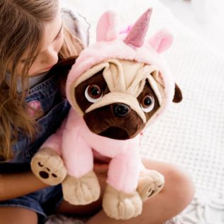 30cm Pugsley in Light Pink Unicorn Onesie Product Image