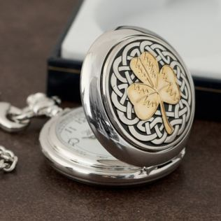 Personalised Chrome Pocket Watch - Shamrock Design Product Image