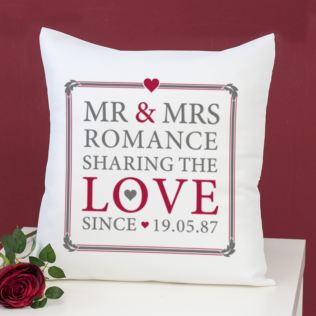 Personalised Mr & Mrs Sharing The Love Since Cushion Product Image