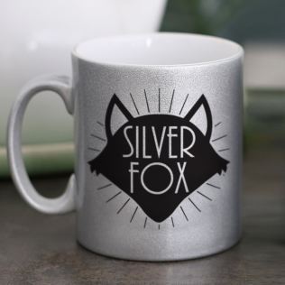 Personalised Silver Fox Sparkly Mug Product Image