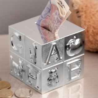 Personalised Silver Plated Cube ABC Money Box Product Image