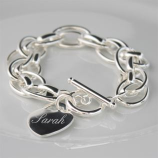 Engraved Silver Plated Bracelet with Personalised Gift Box Product Image