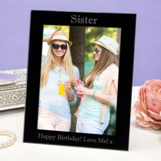 Personalised Sister Black Glass Photo Frame Product Image