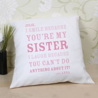 Personalised Sister Smile Cushion Product Image