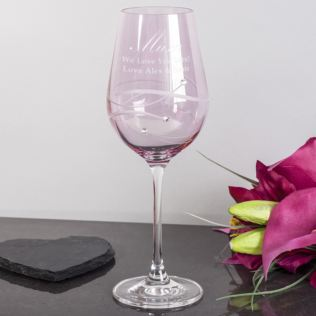 Personalised Pink Diamante Wine Glass For Mum Product Image
