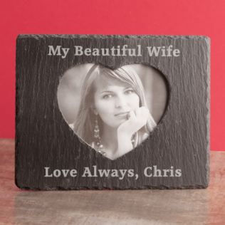 Personalised Slate Photo Frame With Inner Heart Product Image