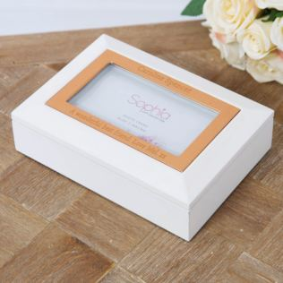 Personalised White & Copper Jewellery Box Product Image