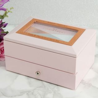 Personalised Pink Jewel Box With Photo Frame & Drawer Product Image