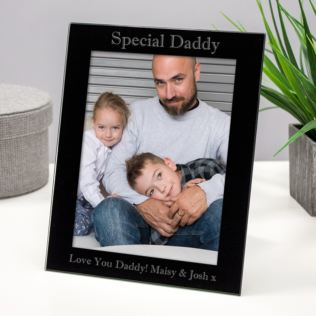 Personalised Special Daddy Black Glass Photo Frame Product Image