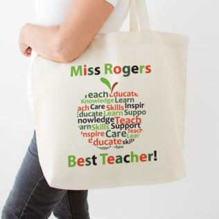 Personalised Teacher Shopping Bag - Apple Design Product Image