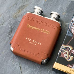 Ted Baker Personalised Double Hip Flask In Brown Brogue Product Image