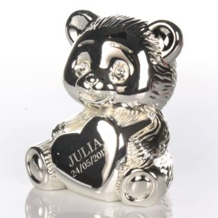Silver Plated Teddy Bear Money Box Product Image