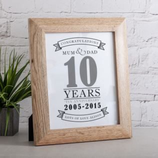 Personalised Tenth Anniversary Framed Print Product Image