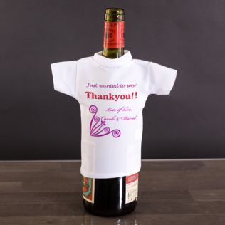 Thank You Personalised Wine Bottle T-Shirt Product Image