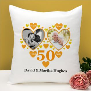 Personalised Then and Now Golden Anniversary Photo Cushion Product Image