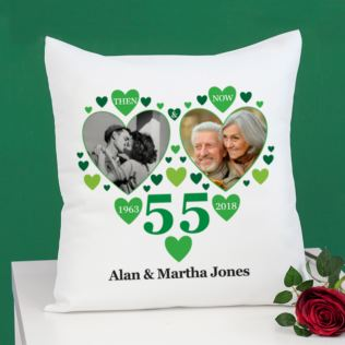 Personalised Then and Now Emerald Anniversary Photo Cushion Product Image