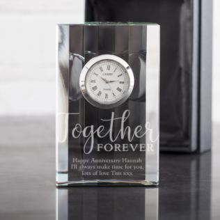 Personalised Together Forever Crystal Mantel Clock Product Image