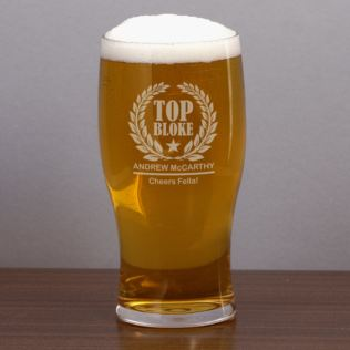 Personalised Top Bloke Pint Glass Product Image