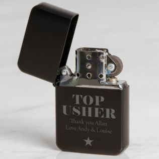 Personalised Usher Black Petrol Lighter Product Image