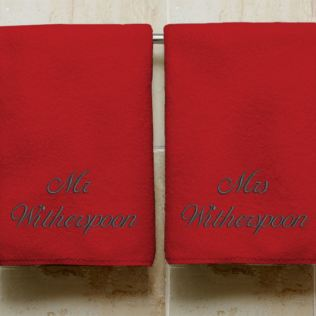 Personalised Embroidered His And Hers Ruby Anniversary Towels Product Image