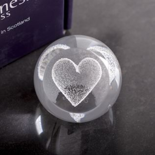 Special Moments Silver Heart Paperweight By Caithness Glass Product Image
