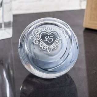 Silver Anniversary Celebration Paperweight By Caithness Glass Product Image