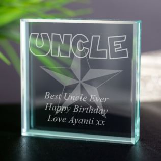 Personalised Uncle Glass Keepsake Product Image
