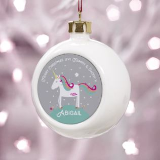 Personalised Unicorn Christmas Bauble Product Image