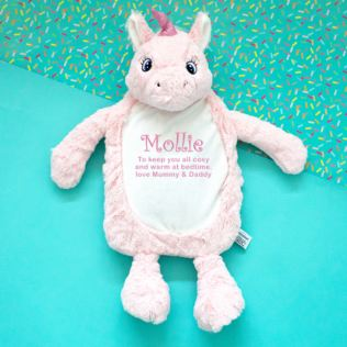 Personalised Embroidered Unicorn Hot Water Bottle Cover Product Image