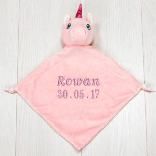 Personalised Embroidered Cubbies Unicorn Snuggle Blankie Product Image