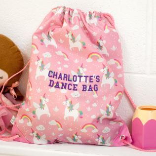 Personalised Embroidered Rainbow Unicorn Drawstring Bag Product Image