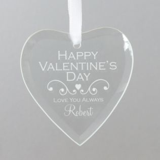Personalised Valentine's Day Hanging Glass Heart Product Image