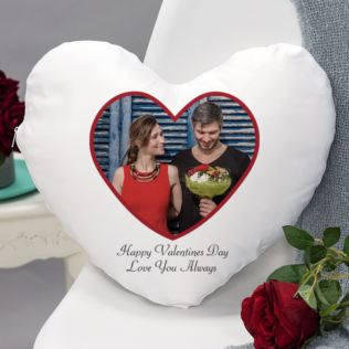 Valentine's Day Heart Shaped Personalised Photo Cushion Product Image