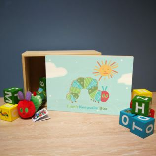 Personalised Very Hungry Caterpillar Wooden Keepsake Box Product Image