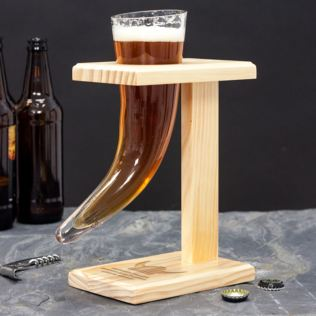Viking Beer Horn With Personalised Wooden Stand Product Image