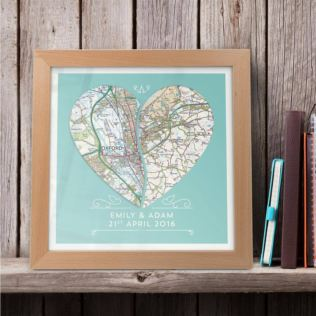 Personalised Joined Heart Framed Map Print Product Image