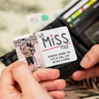 Personalised We Miss You Photo Upload Metal Wallet Card Product Image