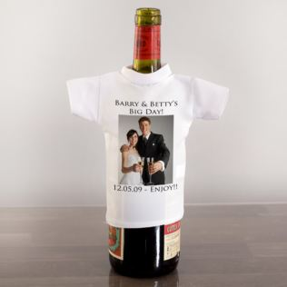Wedding Day Personalised Wine Bottle T-Shirt Product Image