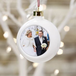 Personalised Wedding Photo Bauble Product Image
